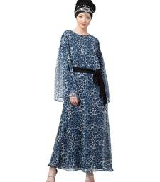 Blue Nazneen Animal Printed Bell Sleeve Casual Abaya