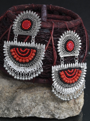 Handcrafted Red and Black Beads Design Oxidised Silver Plated German Silver Chandbalis