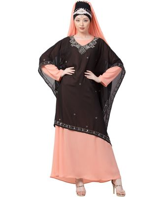 Peach Nazneen Double Layer Embellished Party Abaya