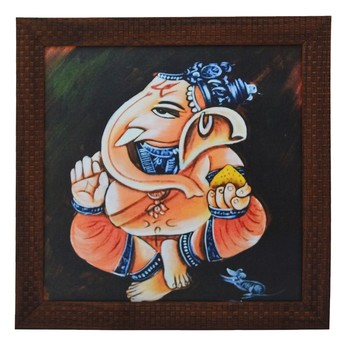 Lord Ganesha Design Satin Matt Texture UV Art Painting