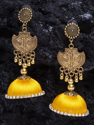 Handcrafted Yellow Thread Crochet Embroidery Design Oxidised Gold Plated Brass Jhumkas
