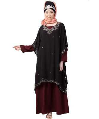 Maroon Nazneen Double Layer Embellished Party Abaya