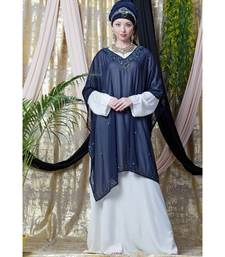 Blue Nazneen Double Layer Embellished Party Abaya