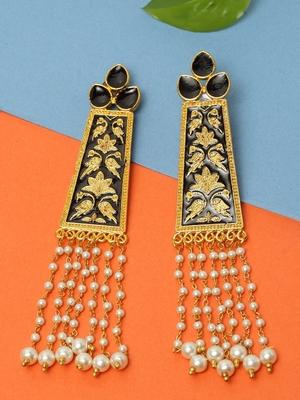 Handpainted Black Meenakari and Pearl Tasselled Design Gold Plated Brass Drop Earrings