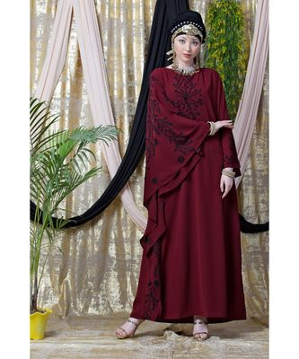 maroon Nazneen embroidered Butterfly Sleeve  Party  Abaya