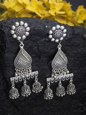 Handcrafted Floral Teardrop Hanging Design Oxidised Silver Plated Brass Jhumkas