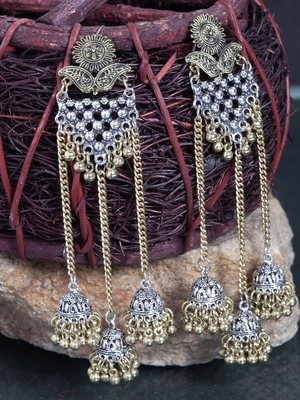Handcrafted Filigree Work Oxidised Gold and Silver Plated German Silver Hanging Jhumkas