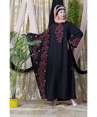 black Nazneen embroidered Butterfly Sleeve  Party  Abaya