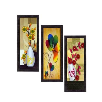 Set Of 3 Botanical Floral Pots Satin Matt Texture UV Art Painting