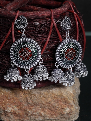 Handcrafted Red and Green Meenakari Hanging Design Silver Plated German Silver Jhumkas