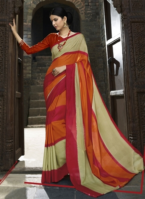 Multicolor printed cotton saree with blouse