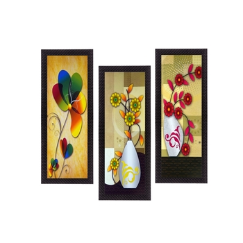 Set Of 3 Botanical Floral Pots Satin Matt Texture UV Art Painting