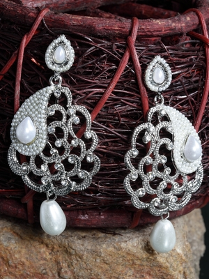 Handcrafted Pearl Encrusted Filigree Design Oxidised Silver Plated Drop Earrings