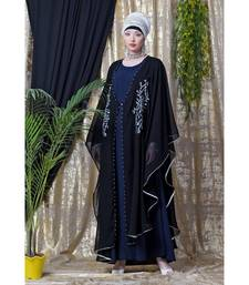 Blue Nazneen Embroidered Butterfly Upper With Inner Abaya Cum Kaftan