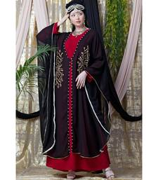 Maroon Nazneen Embroidered Butterfly Upper With Inner Abaya Cum Kaftan