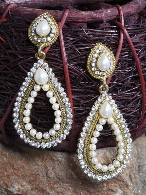 Handcrafted Pearl and Stones Encrusted Oxidised Gold Plated Drop Earrings