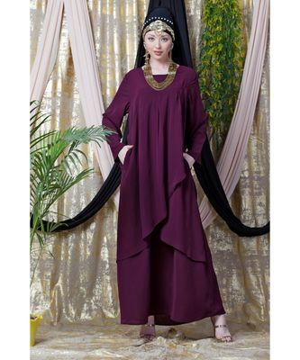 Purple Nazneen Overlapped Panel Casual Abaya