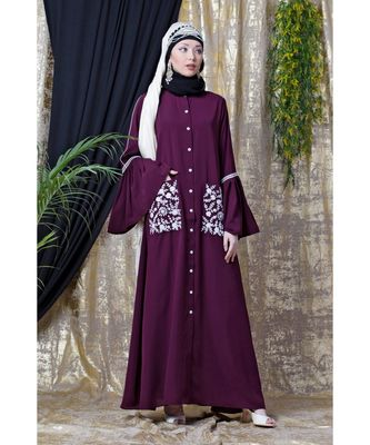 Purple Nazneen Embroidered Pocket, Bell Sleeve Casual Abaya