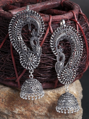 Handcrafted Filigree Peacock Temple Design Oxidised Silver Plated German Silver Ear Cuff