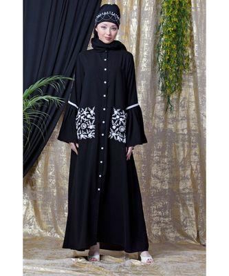 Black Nazneen Embroidered Pocket, Bell Sleeve Casual Abaya