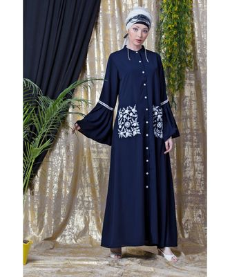 Blue Nazneen Embroidered Pocket, Bell Sleeve Casual Abaya