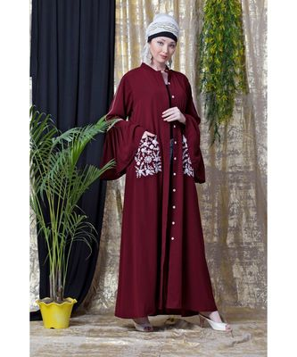 maroon Nazneen Embroidered Pocket, Bell Sleeve casual Abaya