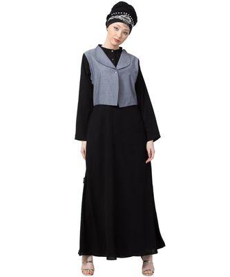black Nazneen Extra contrast Jacket executive Abaya
