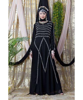 black Nazneen Hand embroidered Party Abaya