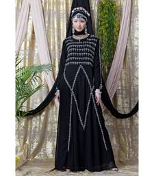 Black Nazneen Hand Embroidered Party Abaya