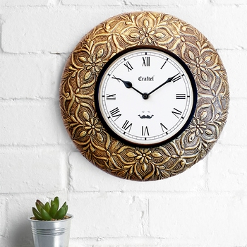 "12"" Antique Brass Metal Decorative wall clock"