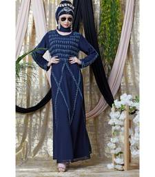 Blue Nazneen Hand Embroidered Party Abaya