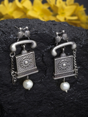 Handcrafted White Pearl Quirky Shape Temple Design Silver Plated Brass Drop Earrings