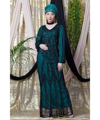 green Nazneen Full Hand embellished Party Abaya