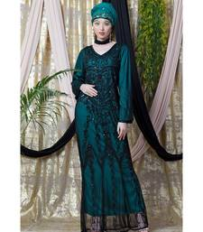 Green Nazneen Full Hand Embellished Party Abaya