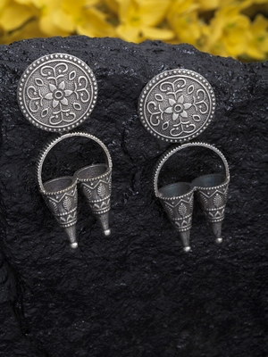 Handcrafted Temple Design Traditional Silver Plated Brass Drop Earrings