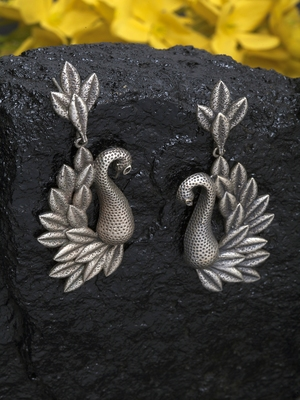 Handcrafted Peacock Shape Traditional Gunmetal Grey Silver Plated Brass Drop Earrings