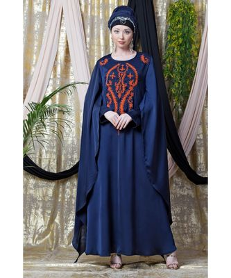 blue Nazneen Extra Long wings Sleeve embroidered Party abaya