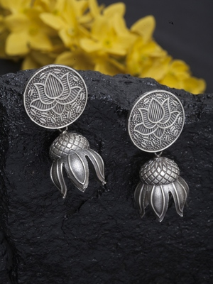 Handcrafted Temple Lotus Gunmetal Grey Color Silver Plated Brass Traditional Jhumkas
