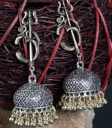 Handcrafted Temple Design Traditional Oxidised Gold Plated Brass Antique Jhumkas