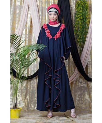 Blue Nazneen Front Long Frill Contrast Flowers Party Abaya