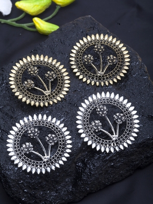 Handcrafted Circular Shape Cut Work design Oxidised Gold and Silver Plated Studs Combo