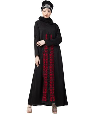 black Nazneen front embroidered Zip at neck Nida Abaya