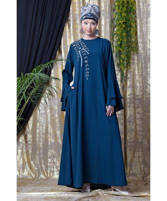 blue Nazneen Hand work Teal Party Abaya