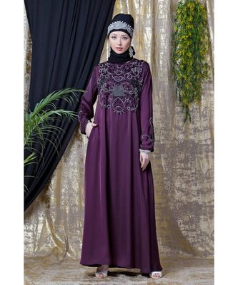 Purple Nazneen Front And Sleeve Hand Embroidered Party Abaya