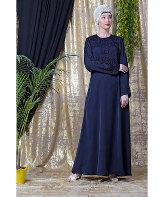 Blue Nazneen Front And Sleeve Hand Embroidered Party Abaya