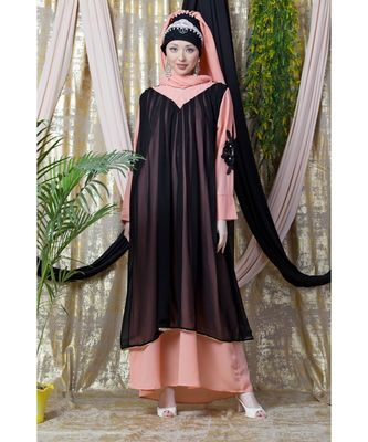 Peach Nazneen Embroidered Neck Band Double Layer Party Abaya