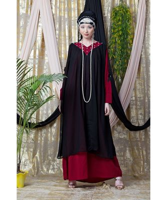 maroon Nazneen embroidered neck band double layer Party Abaya