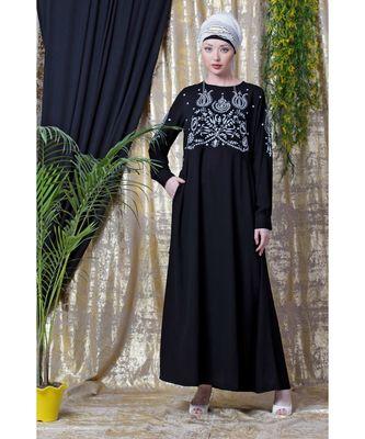 Black Nazneen Embroidered Party Abaya