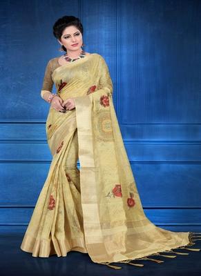 Light yellow printed jacquard saree with blouse