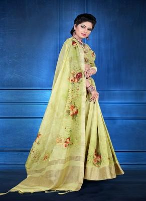 Light green printed jacquard saree with blouse